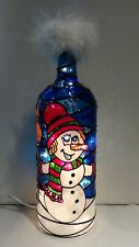 Snowman Bottle Lamp Stained Glass Look Handpainted Lighted