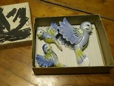 VINTAGE SET OF 3 BLUEBIRD WALL HANGING PLAQUES JAPAN  NEW IN ORIGINAL BOX