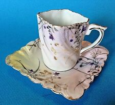 Eggshell Square Demitasse Tea Cup And Saucer Hand Painted With Raised Moriage