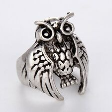 Fashion Jewelry Unique Gift Stainless Steel Mens/Womens Silver owl Rings Size 8