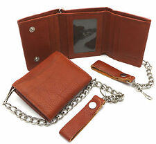 Trifold Orange Genuine Leather Wallet with Scale Texture Design with a Chain
