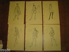 6 Gres Vintage Fashion Stat Sheets 1950 1960 Haute Coutre #C59