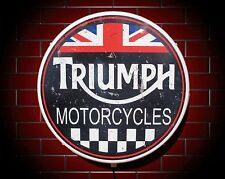 TRIUMPH LED 600mm ILLUMINATED WALL LIGHT CAR BADGE GARAGE SIGN LOGO MAN CAVE