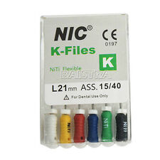 NIC Dental Root Canal Endodontic NITI Flexible hand use K -Files  21mm  #015-040