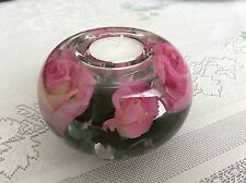 VINTAGE GLASS DECORATIVE TEA LIGHT LARGE ROUND CANDLE HOLDER WITH FLOWERS