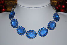 SUPERB RARE VINTAGE CHRISTIAN DIOR BY KRAMER BLUE MOONSTONES RHINESTONE NECKLACE
