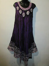 Dress Fit XL 1X 2X Plus Sundress Purple Black Batik Long Tunic A Shaped NWT 5009