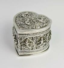 INDIAN SILVER Heart Shape TEA CADDY BOX c1890