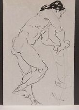 Lois Davis Standing Male Nude Model Ink Drawing Listed Indiana Artist 18 x 12