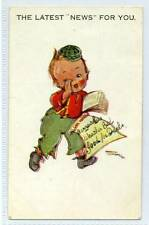"""(Gd90-178) Artist Signed, The Latest """"NEWS"""" For You, c1940 Postally Unused"""