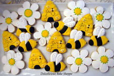 One Dozen Spring Bee Theme Sugar Cookies~ Bees, Hives, Flowers