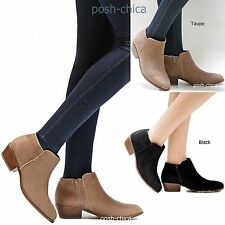 New Women WmY1 Black Taupe Western Ankle Booties Riding Low Heel Boots 5.5 to 10