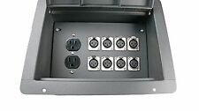 Recessed Pocket Audio Stage Floor Box w/8 Female XLR Mic Connectors & AC Outlet