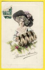 cpa BONNE ANNÉE 1910 à Mr et Mme FLACHARD de PANISSIÈRES Femme Chapeau Fourrure