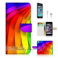 iPhone 7 (4.7') Flip Wallet Case Cover P1411 Rainbow Wave