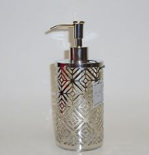 NEW BELLA LUX SILVER METAL FRAME + GLASS INSIDE SOAP,LOTION DISPENSER