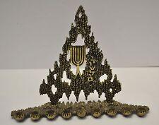Vintage Judaica Hanukkah Jewish Brass Menorah Israel  by Weinberg