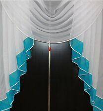 Deko - Gardine, Store, Vorhang in der Farbe türkis / weiss