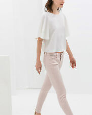 ZARA PINK SKINNY FIT BIKER TROUSERS PANTS WITH ZIPS EUR 36/USA 4/UK 8/IT 40