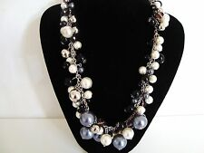 Chunky Black Silver Beads & PearLs Long Short Ajustable Chain Necklace LaGeNLooK