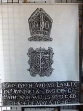 Brass rubbing WELLS CATHEDRAL SOMERSET, ARTHUR LAKE D.D. 1626  .. 75/2