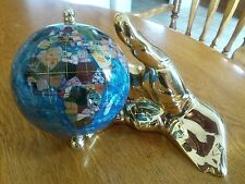Norco Products GH110-A Gemstone Globe Aquamarine With Gold Hand Excellent Cond.