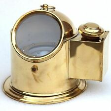 Vintage Brass Binnacle Compass With Oil Lamp Nautical Helmet Ship Compass Decor