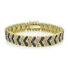 Gold Tone 1 Carat TDW Black & White Diamond Chevron Bracelet