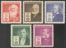 USA 1940 Famous Americans/Inventors/People/Science/Technology 5v set (n41366)