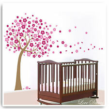 Flower Tree Wall Stickers Pink Baby Art Owl Monkey Jungle Nursery Bedroom Decals