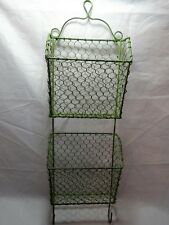 "MODERN Rustic COUNTRY Green WIRE Letter & Key Holder WALL Organizer 24"" x 7"""