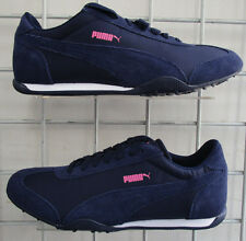 Men's Puma 76 Runner Fun Sneakers, New Navy Blue Pink Suede Walking Shoes Sz 7.5
