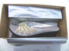 Soirée mariage bling occasion brodé argenté textile crystal pearl mules EU41