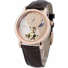 TIME100 Sun&Moon Phase Taichi Pattern Brown Leather Strap Skeleton Mechanical Wa