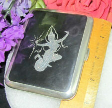 ANTIQUE Art Deco STERLING silver NIELLO enamel CIGARETTE CASE engraved NUDE