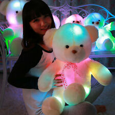 50CM Colorful Glow LED Light Plush Bear Doll Throw Pillow Toy Friends Gift F5