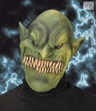 Green Goblin Face Mask Scary Demon Ogre Halloween Fancy Dress
