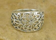 HIGH POLISH 925 STERLING SILVER FILIGREE FLORAL BAND RING size 8  style# r2170