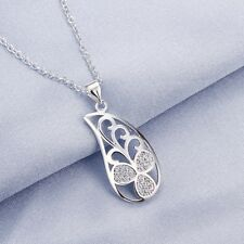 Women Fashion 925 Sterling Silver Plated Leaf Chain Crystal Pendant Necklace