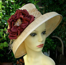 STUNNING JACQUES VERT NATURAL FLOWER OCCASION HAT RACES / WEDDING