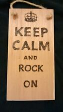 hand designed wooden plaque.keep calm and rock on. Rock / music gift