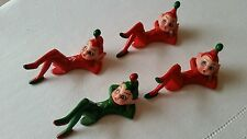 Vintage Hong Kong Rubber Christmas Elf Elves Pixies 3 Red and  1 Green