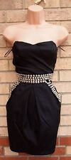 RISE BLACK BANDEAU TULIP BEADED STUDDED PARTY EVENING BANDEAU RARE DRESS 8 S