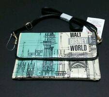 NEW DISNEY PARKS CINDERELLA CASTLE ETCHING VINYL STRAP PURSE CLUTCH AQUA CREAM