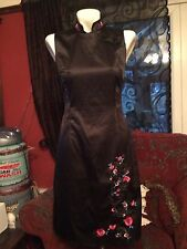 Rockabilly wiggledress, black Chinese pinup dress   50's 1950's size 10