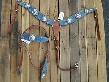 TURQUOISE BLUE SHOW SILVER WESTERN HEADSTALL BREAST COLLAR HORSE LEATHER BRIDLE