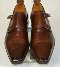 Minty $450 MAGNANNI 'Benito' Antiqued Brown Double Monk Strap Cap Toe SHOES 10 M