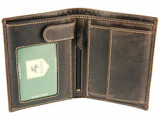 Visconti Mens Distressed Hunter Leather Wallet For Cards Notes Coins - Oil Brown
