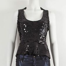ARMANI JEANS Black Sleeveless Scoop Neck Sequin Detail Peplum Top It 46 UK 14