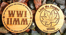 WWI/WWII - Lest We Forget Trackable Geocaching Wooden Nickel (2-sided)